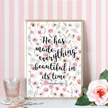 Everything beautiful! - Calligraphy Bible Verse Poster Print