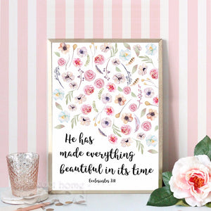 Everything beautiful! - Calligraphy Bible Verse Poster Print - Amen Style - Christian Jewelry, T-shirts and Decor