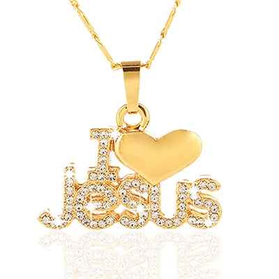 I Love Jesus pendant necklace for women - gold/silver/rose gold