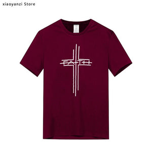 Men Cotton T Shirt Women Cross Printed Funny Summer Tops Men's boys Faith Tshirt Plus Size Casual Christian Clothes Brand euu363