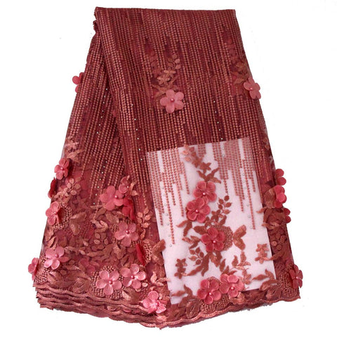 african lace fabric 3D flower wedding lace 740 pink