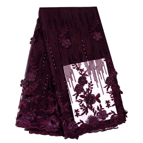 african lace fabric 3D flower wedding lace 740 purple