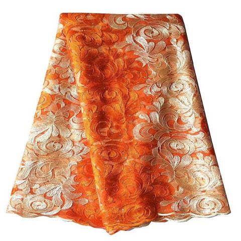 african lace fabric nigerian lace orange