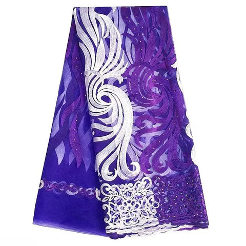 Purple African Lace Fabric Wedding Dresses