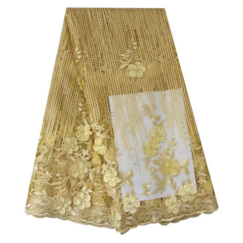african lace fabric 3D flower wedding lace 740 yellow
