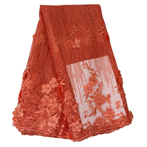 african lace fabric 3D flower wedding lace 740 orange
