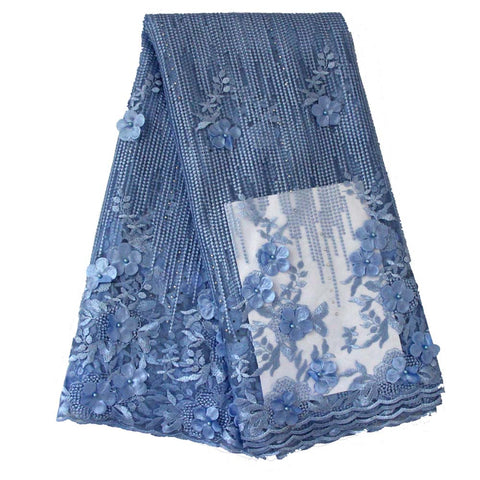 african lace fabric 3D flower wedding lace 740 blue