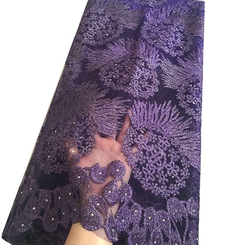 african lace fabric 5 yards nigerian lace purple