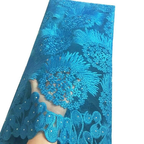 african lace fabric nigerian lace sky blue