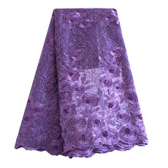 african beaded lace fabric nigerian lace 690 purple