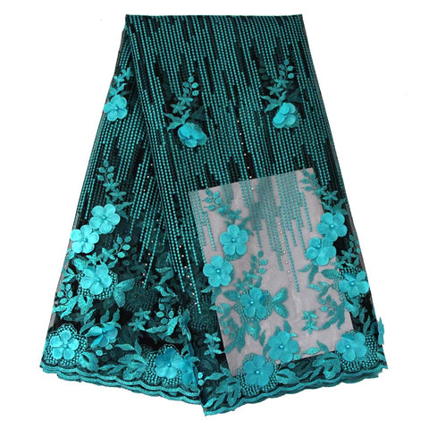 african lace fabric 3D flower wedding lace 740 aqua