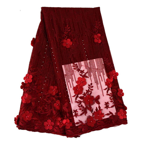 african lace fabric 3D flower wedding lace 740 wine