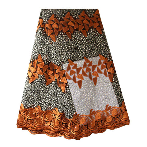 african lace fabric coffee