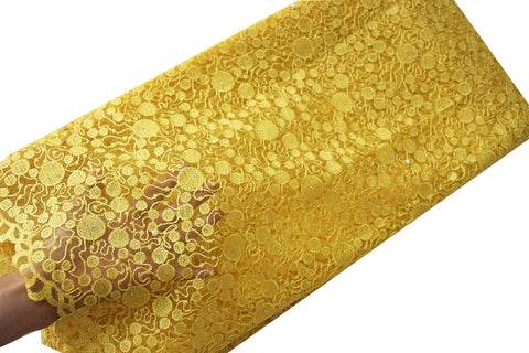 african beaded lace fabric yellow wedding lace