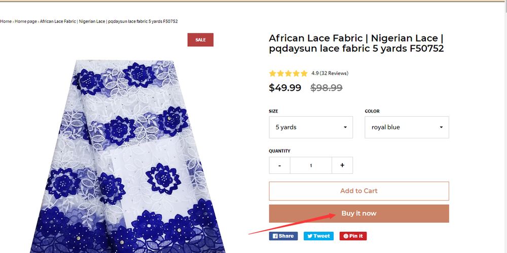 African Lace Fabric  | Nigerian Lace | pqdaysun lace fabric 5 yards F50752