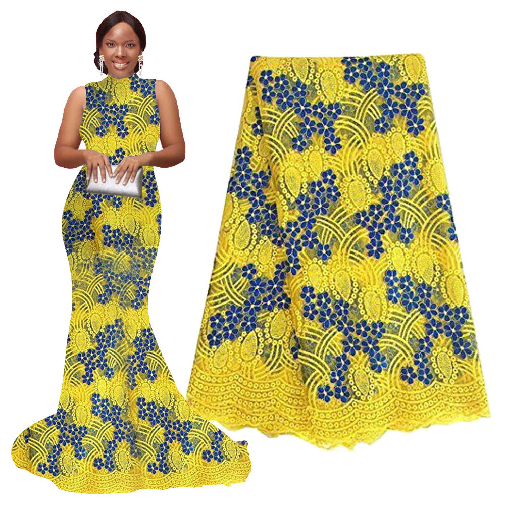 African Lace Fabric | Nigerian wedding dresses | pqdaysun Rhinestone Lace Fabric