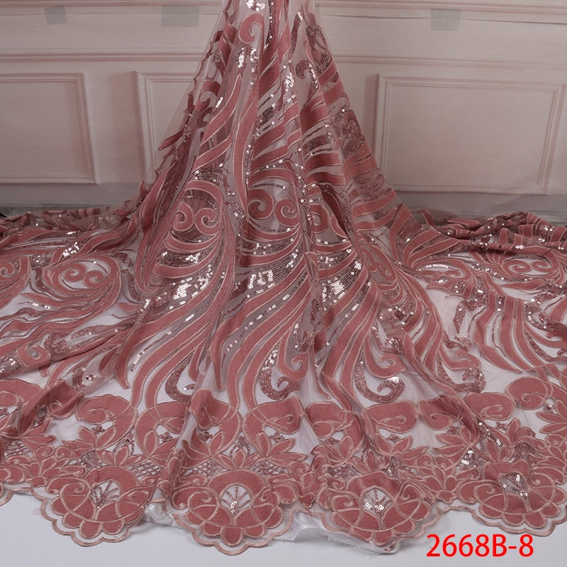 New Arrival Sequins Lace Fabrics African Nigerian Tulle Mesh Lace Fabric for Wedding Velvet Lace Fabrics with Sequins APW2668B-8