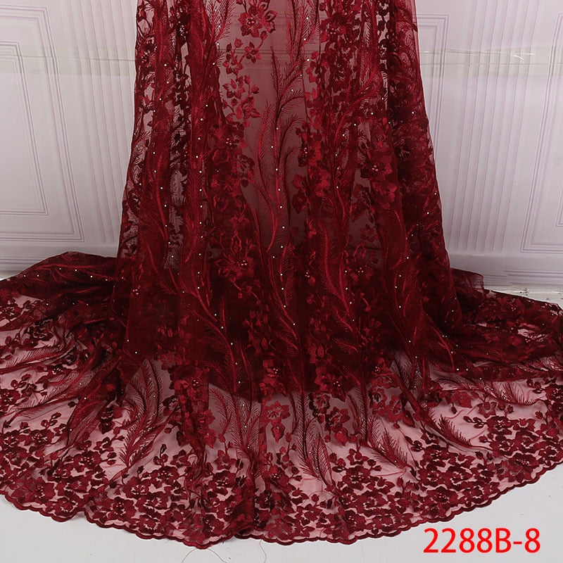 Latest African Laces 2019 Red Lace Embroidery Lace Fabric Mesh Lace Trim Bridal Lace With Beads For Nigerian Dresses QF2288B-8