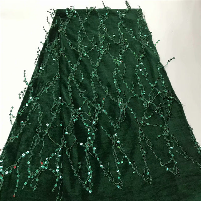 magenta African Lace Fabric With Sequins Velvet 2019 green Latest Fabric High Quality Velvet Tulle Sequins Lace Fabric Dress