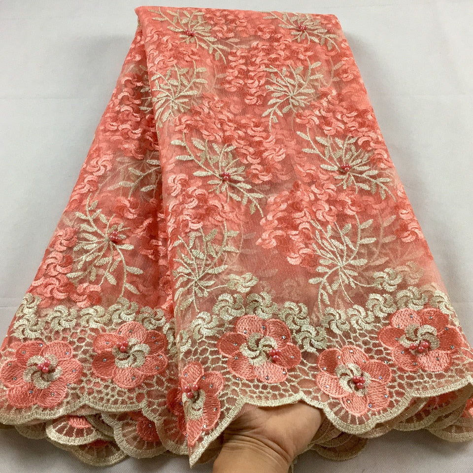 Nigerian Lace Fabric 2019 High Quality Lace Beaded Lace Fabric Wedding Pink African With Beads Nigerian French Lace Fabric LHX07