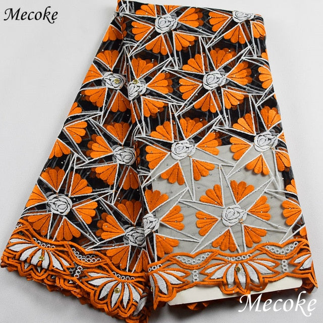 Best selling 2019 orange african cord lace High quality french lace with plenty stones or African lace fabric red nigerian lace