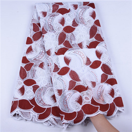 High Quality Nigerian Milk Silk Voile Lace Fabric Latest French Stone Swiss Lace Fabric African Guipure For Wedding Every Dress