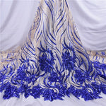 New Style French Nigerian Sequins Mesh Lace African Tulle Sequence Lace Fabric High Quality Lace For Wedding Dress 5 Yards 1737
