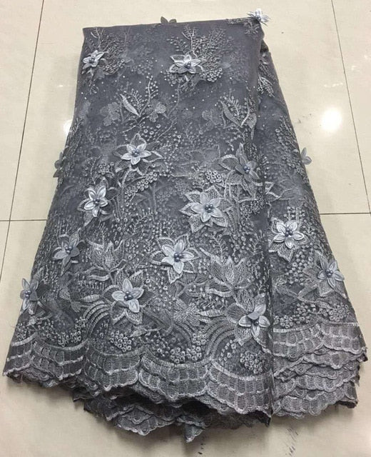 Latest Silver Grey African Laces Fabrics Embroidered African French Lace Fabric Cheap African French Net Tulle Lace Fabric ZA32