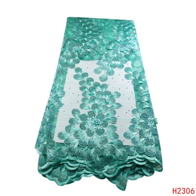 African Lace Fabric 2019 High Quality lace Embroidered Green French Lace Fabric Nigerian Water Soluble Cord Lace For Wedding