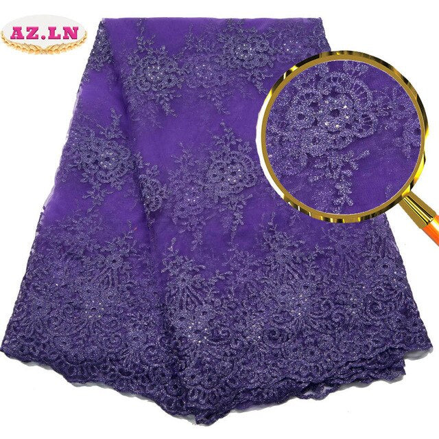 African Lace Fabric 2019 High Quality Lace Lilac Nigerian Tissu Africain Guipure Embroidery French Tulle Lace Fabric   A19B6