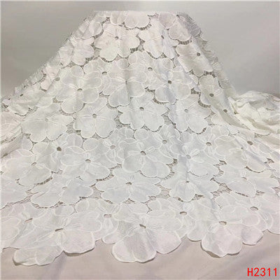 HFX 2019 latest african guipure lace white water soluble chemical lace fabric,high quality african cord lace free shipping H2311