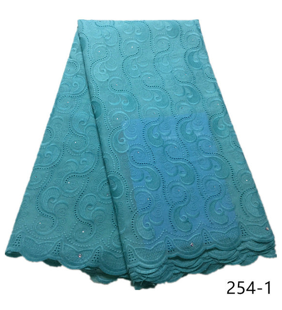 Latest Design African Dry Lace Fabrics High Quality Cotton Lace Fabric with Stones Swiss Voile Lace fabric 254