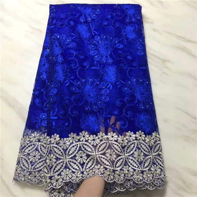 African Lace Fabric 2019 Embroidered Nigerian Laces Fabric Bridal High Quality French Tulle Lace Fabric For Women Dress black