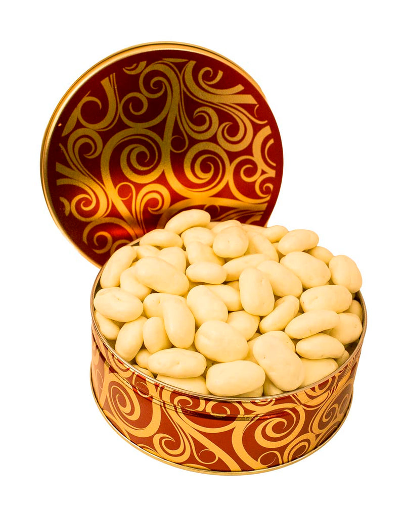 JR GIFT TIN WHITE CHOCOLATE COVERED PECANS