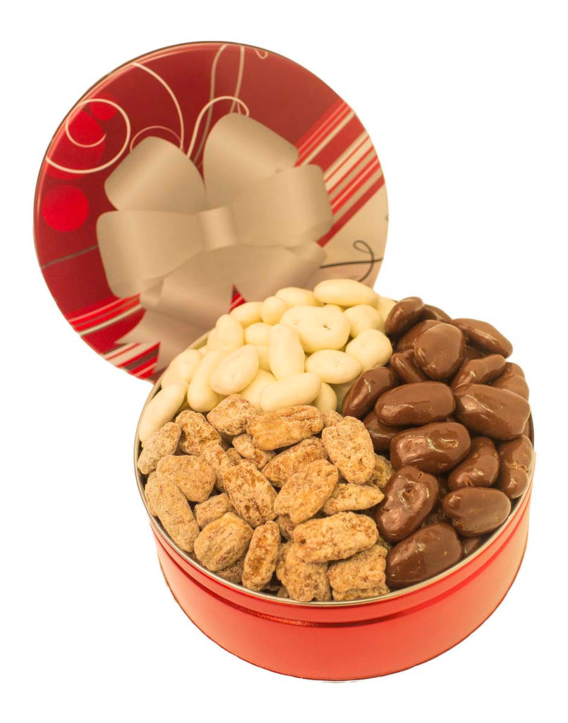 CORPORATE GIFT TIN TRIO MILK CHOCOLATE, WHITE CHOCOLATE AND PRALINE PECANS