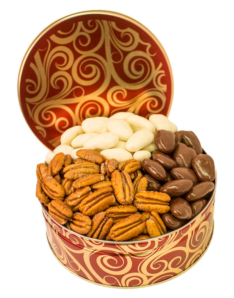 CORPORATE GIFT TIN TRIO ROASTED & SALTED, MILK CHOCOLATE and WHITE CHOCOLATE PECANS