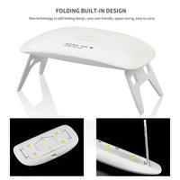Nail Dryer 5W UV LED Mini Curing Lamp 6 Lights Portable for Gel Based Polishes Nail Art Manicure Pedicure with 45s/60s Section
