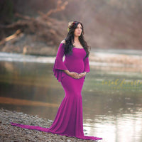 Women's Off Shoulder Ruffles Maternity Slim Fit Gown Maxi Photography Dress