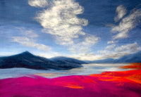 Pink and orange abstract landscape with clouds
