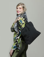 Oversize Black vegan shoulder fabric tote bag Vegan Large Tote Bag