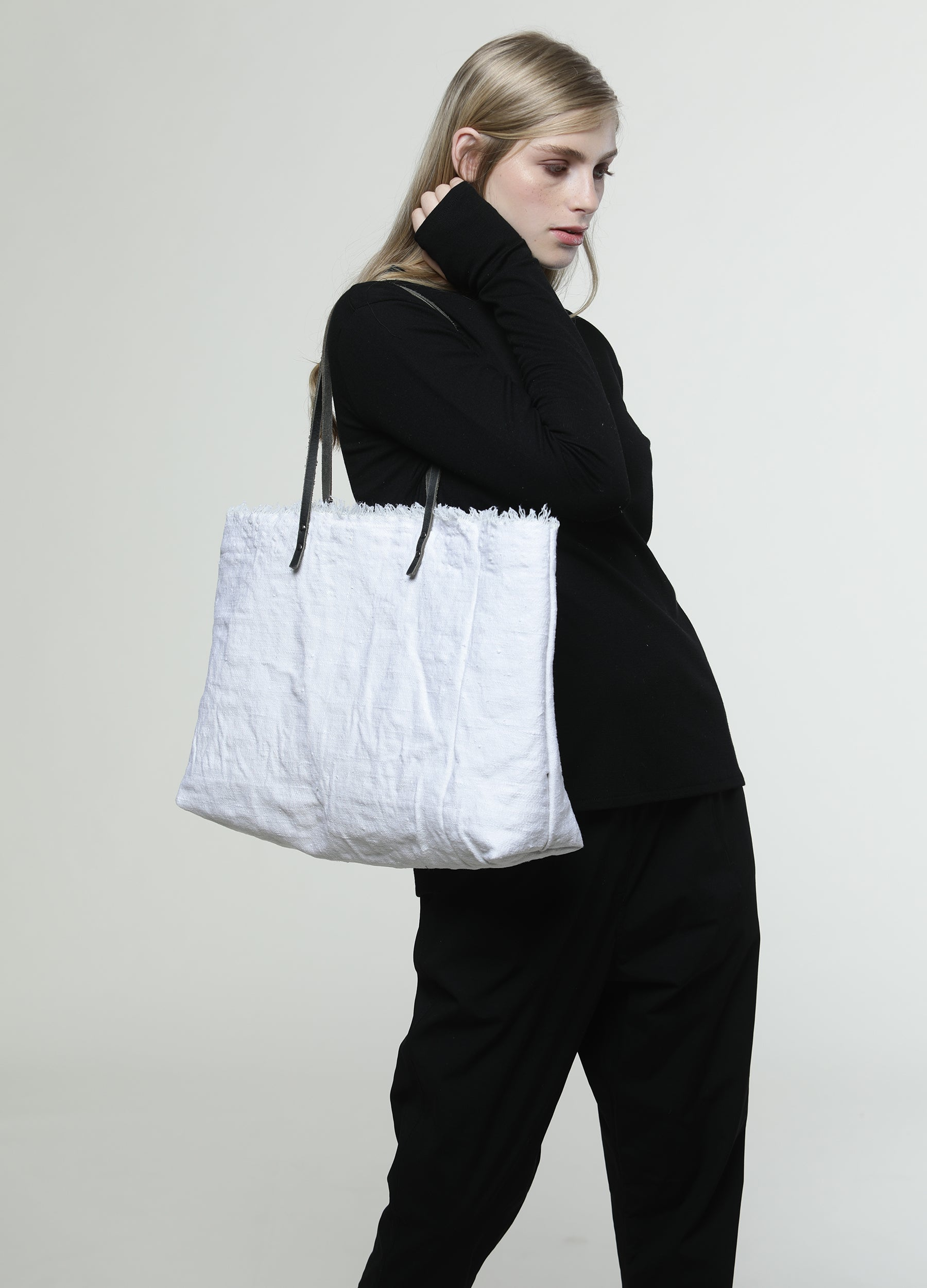 Wide Oversize White Canvas Tote Bag