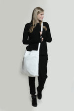Oversize white vegan shoulder fabric tote bag, Lightweight Shoulder Cross body handbag
