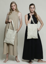 White Leather Square Stitches Tote Bag White shoulder bag