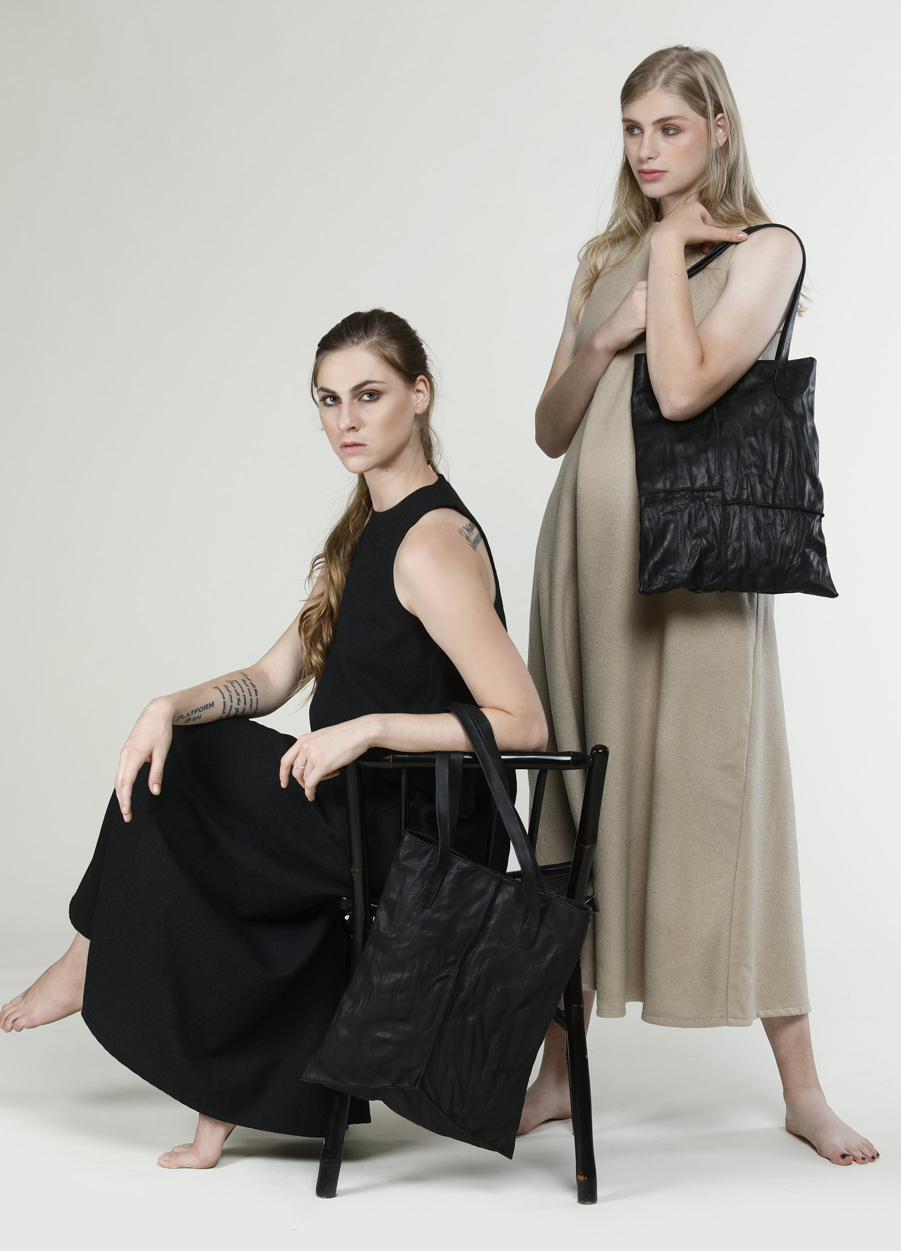 Black Leather Square Stitches Tote Bag, Best Craftsmanship and, Minimalist Geometric