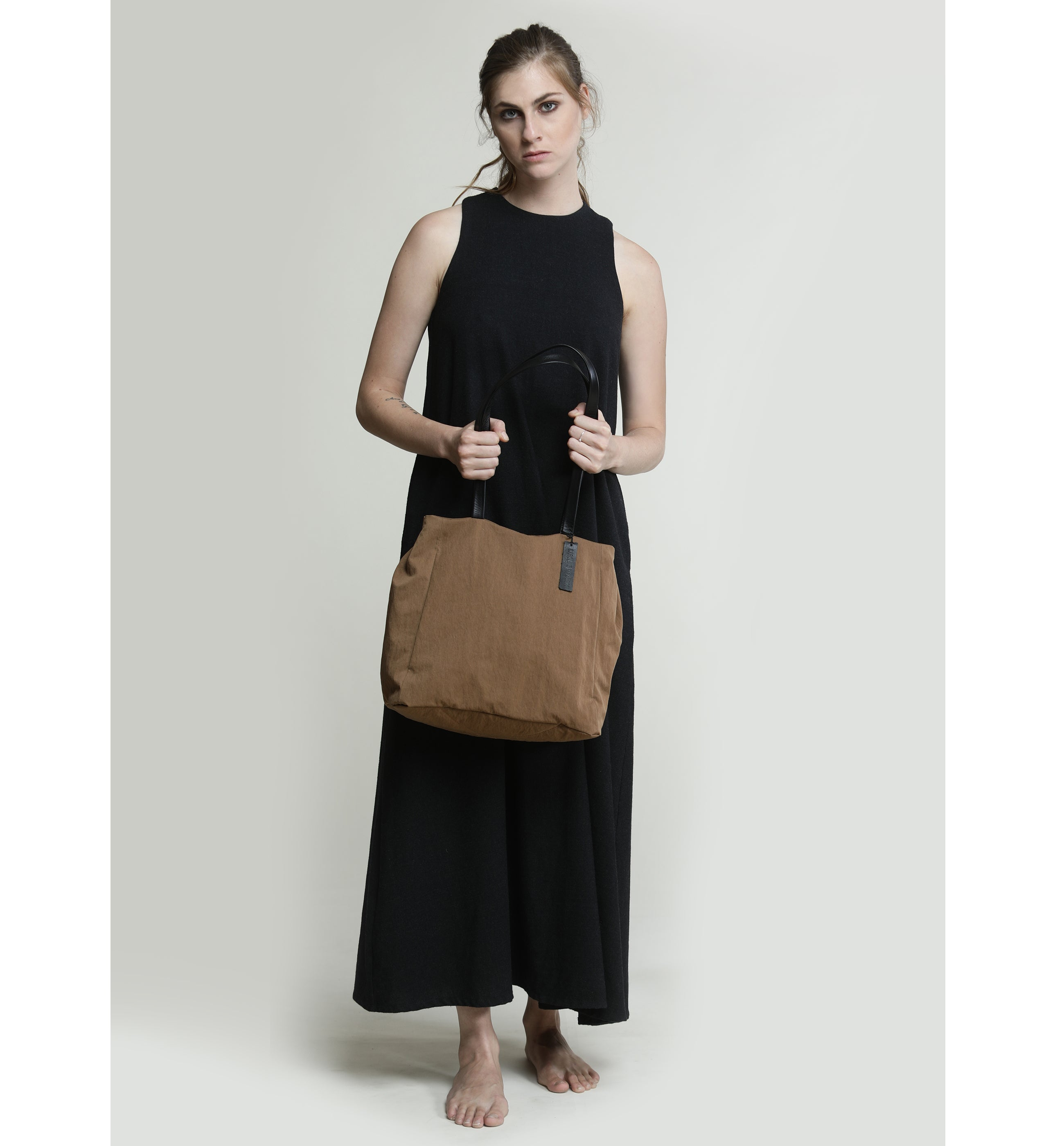 Dark Brown Shoulder Fabric Bag, Lightweight Tote bag with leather handles