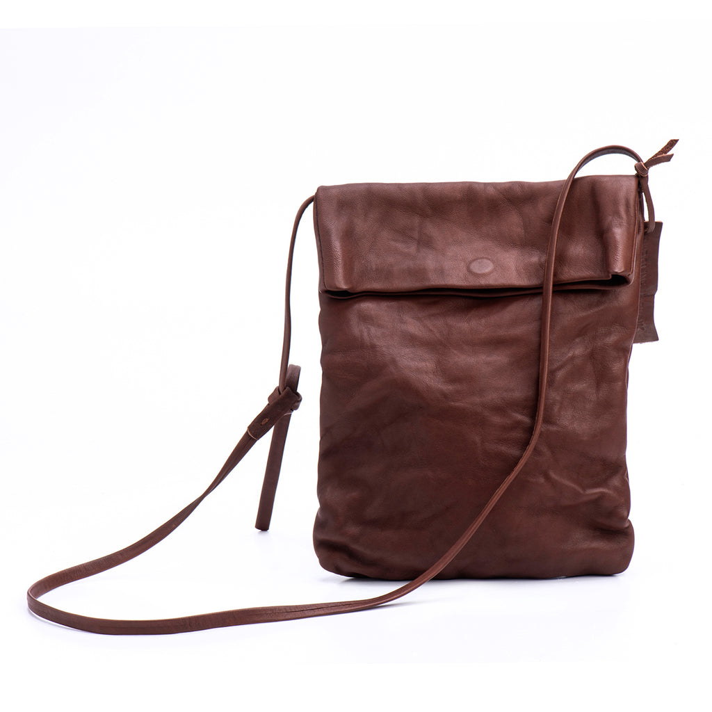 Brick Brown Leather Foldover Crossbody Bag