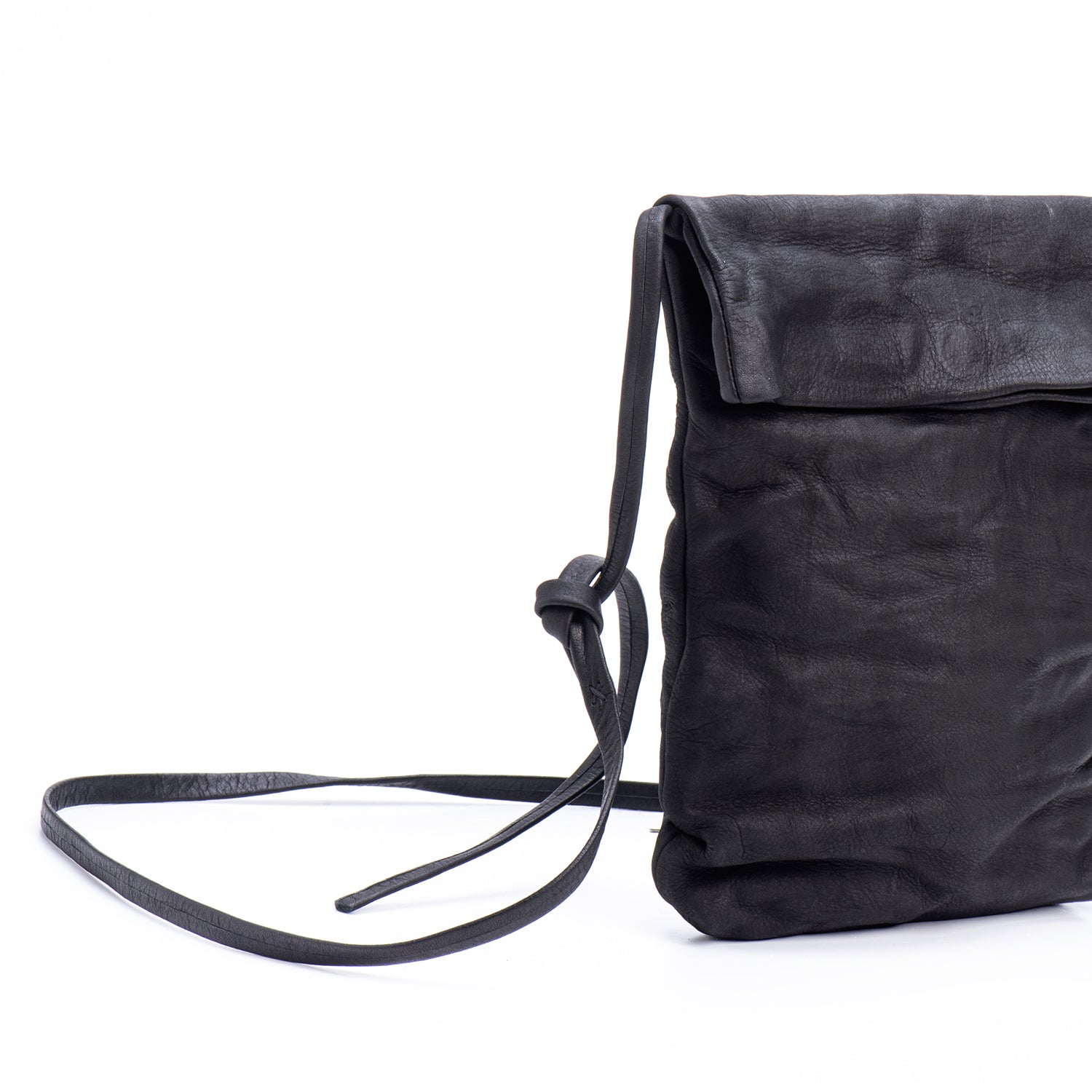 Black Leather Foldover Crossbody Bag
