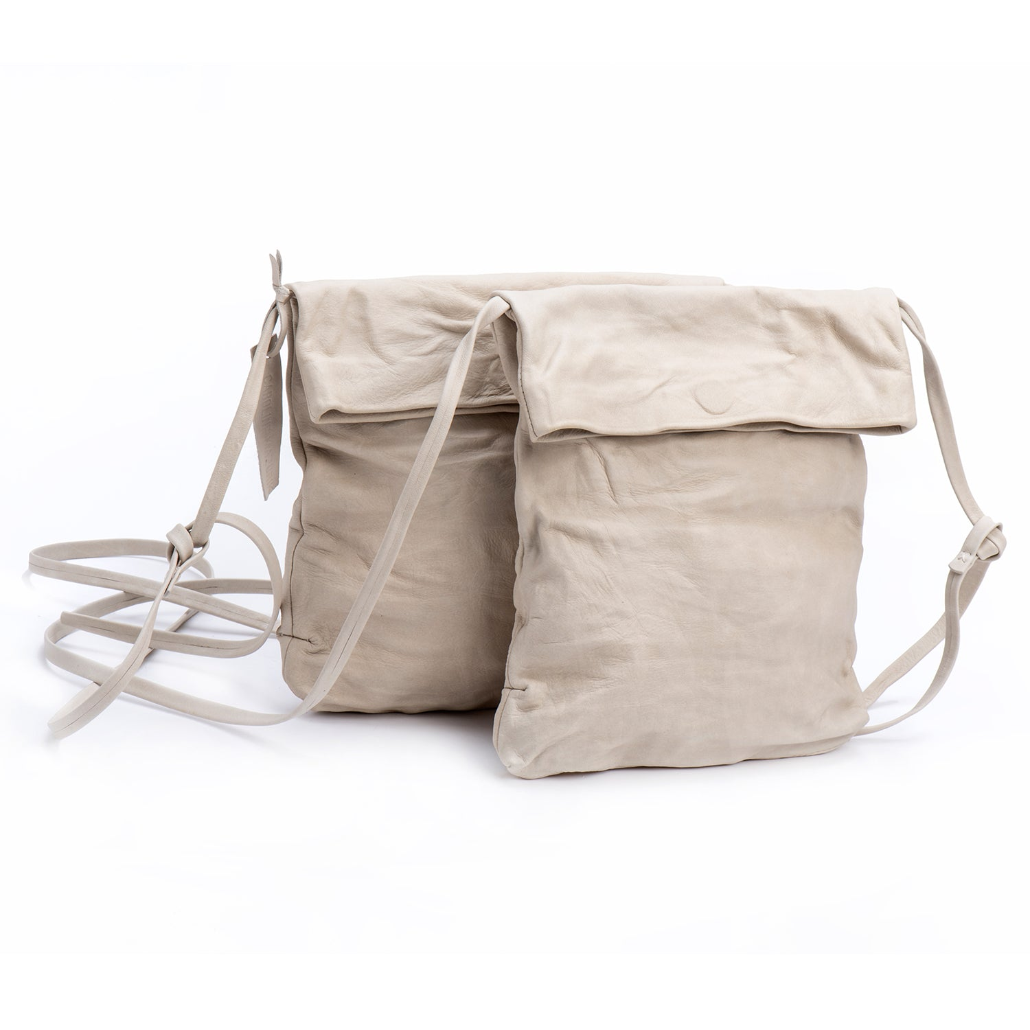 Stone-White Leather Foldover Crossbody Bag