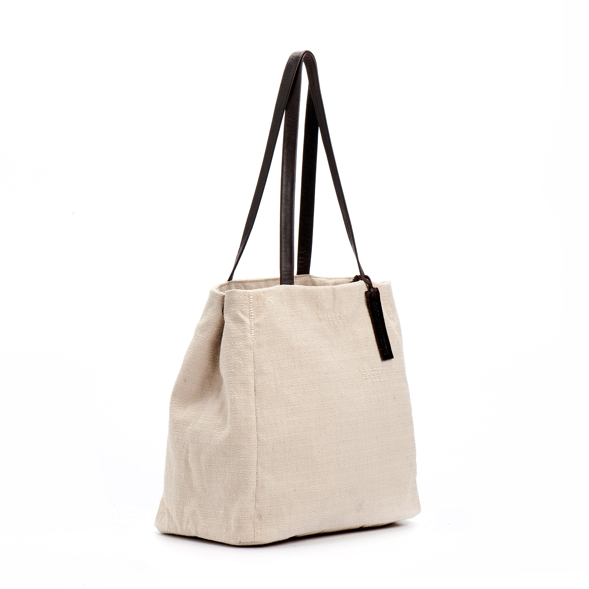 Cotton Tote with Leather handles Off-White Shoulder Woman handbag