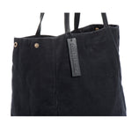 Black Cotton Tote Bag With Leather handles Everyday Woman Bag